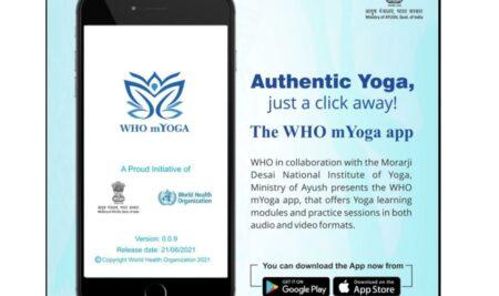WHO mYoga แอพสำหรับการฝึกโยคะของรัฐบาลอินเดีย+WHO